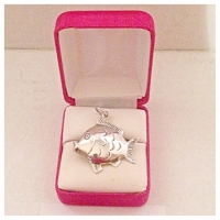 Adorable Vintage Sterling Silver Double Sided Fish Pendant