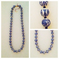 Blue and White Porcelain Chinese Bead Vintage Necklace