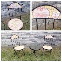 French Provincial Bistro Style Mosaic Table and Chairs